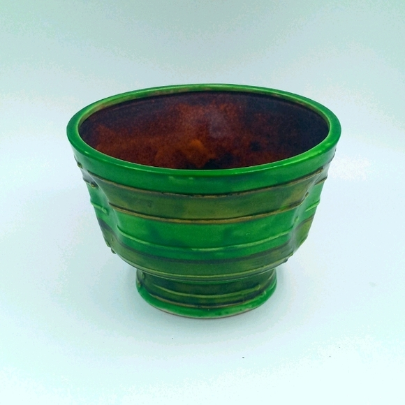 VTG Dimpled Green & Brown Glazed Pot